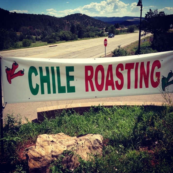Chile Roasting sign