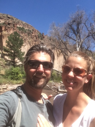 Roadrunner and Zia at Bandelier National Monument
