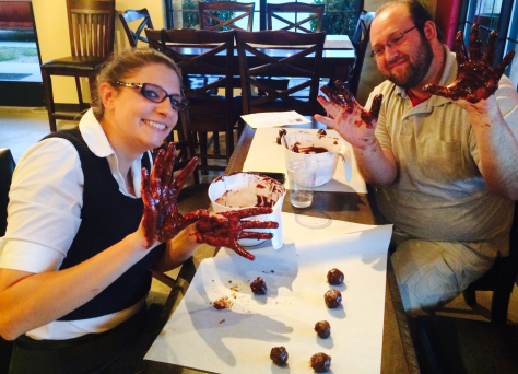 Chocolate Class - messy hands