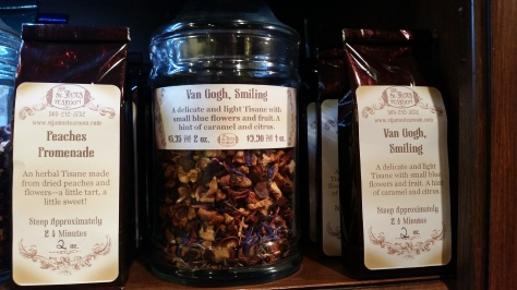 The gift shop sells a variety of loose teas with fun & unique names and flavors.