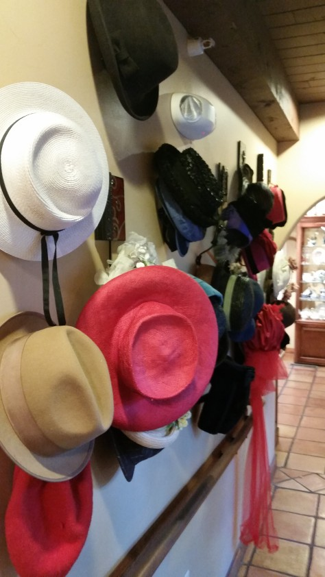 Fancy hats for the borrowing at St. James Tearoom, just for funzies.