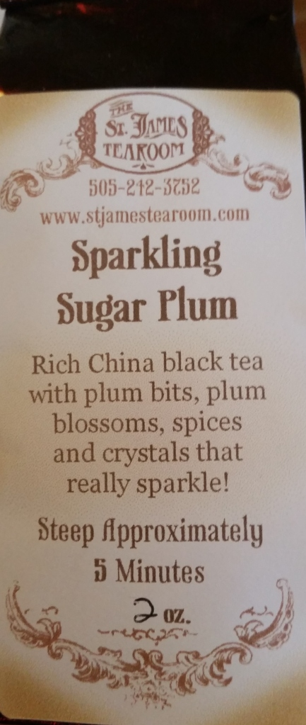 The Sparkling Sugar Plum tea has little glittering bits of something that sparkle in your cup!