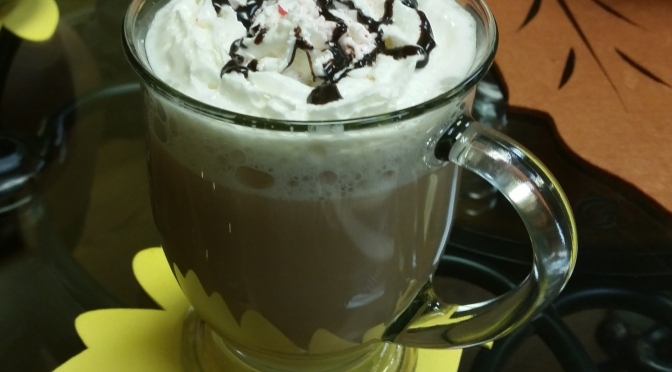 Peppermint Bark Latte at Figments Tea Shoppe & Gallery
