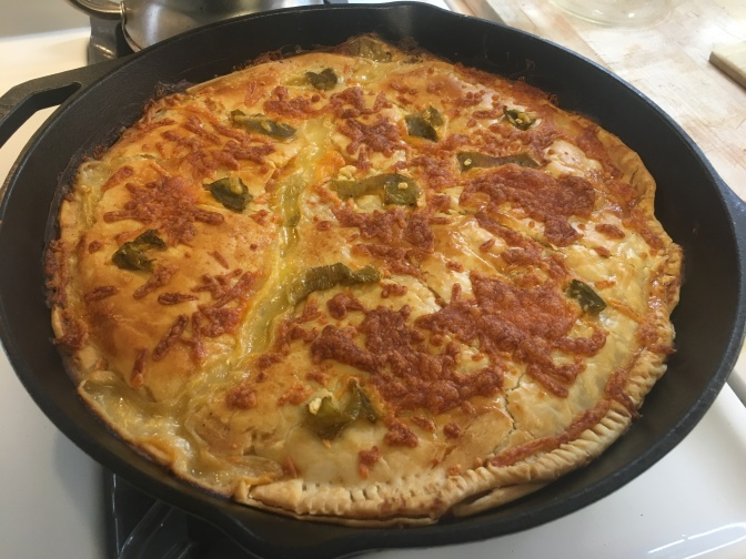 Green Chile Chicken Cheese Enchilada Pot Pie… in cast iron