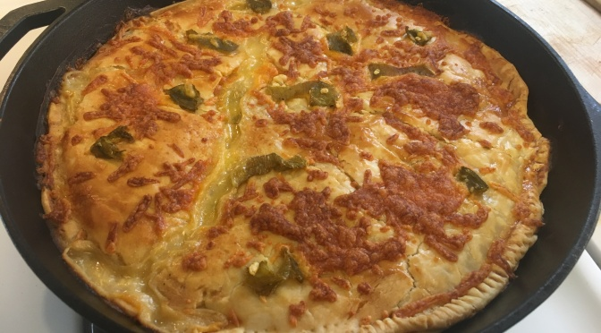 Green Chile Chicken Cheese Enchilada Pot Pie… in cast iron