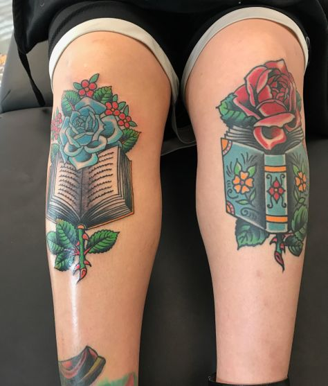Knee Tattoos New Mexico - roses and books