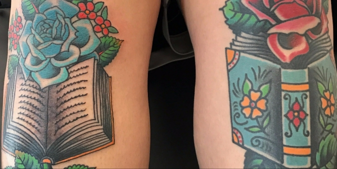 Featured Tattoo Roses and Books